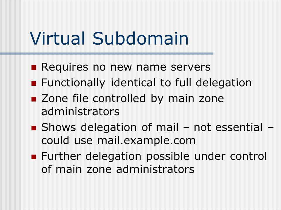 Virtual Subdomain Requires no new name servers