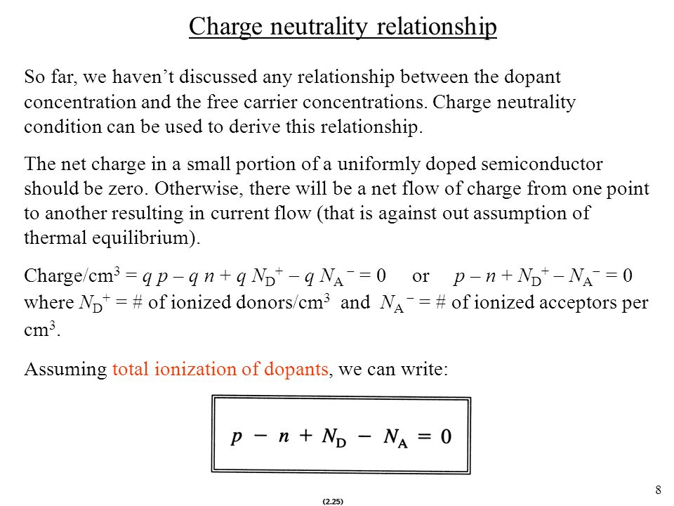 Charge neutrality relationship