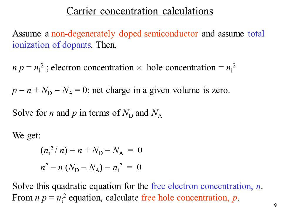 Carrier concentration calculations