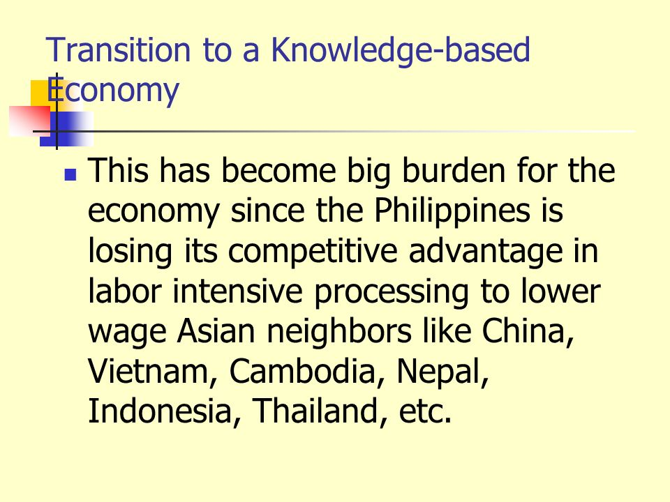 Transition to a Knowledge-based Economy