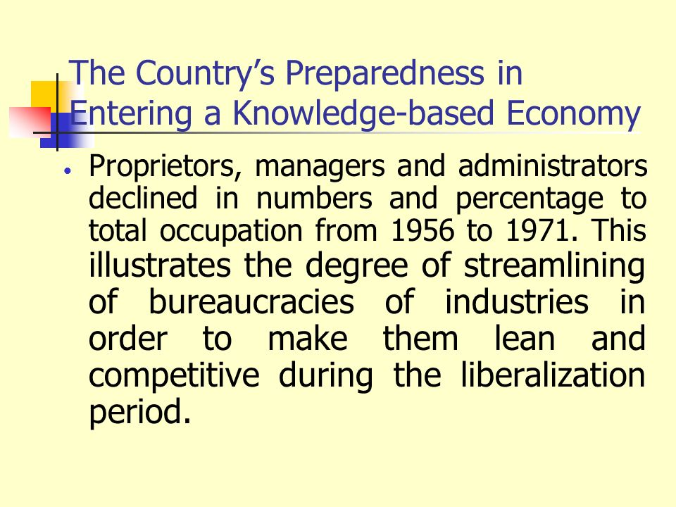 The Country's Preparedness in Entering a Knowledge-based Economy