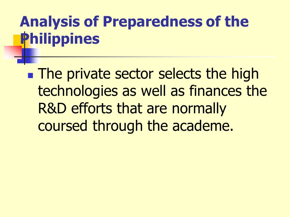 Analysis of Preparedness of the Philippines