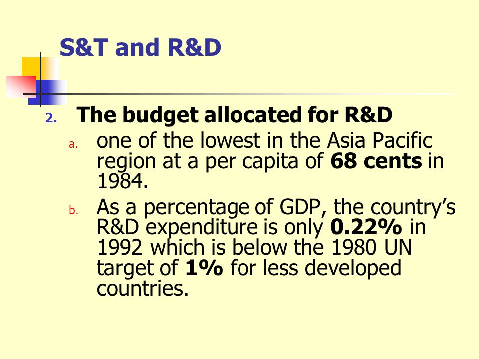 S&T and R&D The budget allocated for R&D