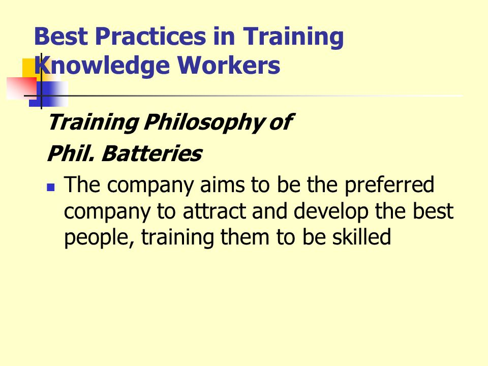 Best Practices in Training Knowledge Workers