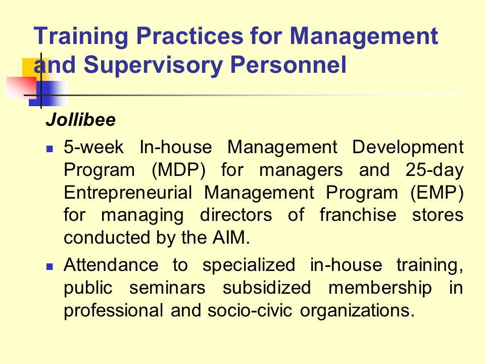 Training Practices for Management and Supervisory Personnel