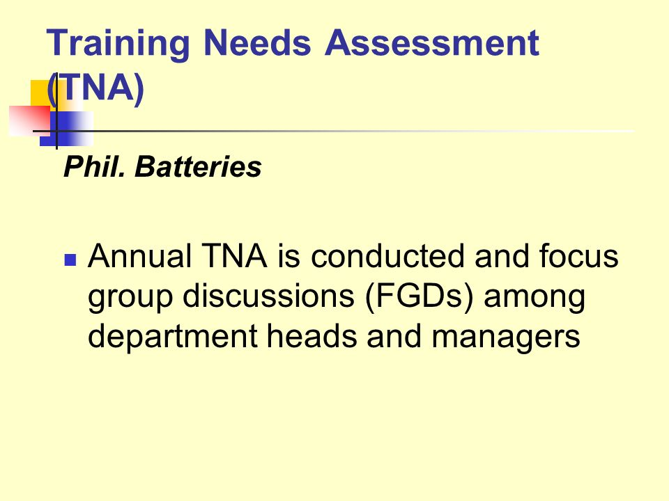 Training Needs Assessment (TNA)