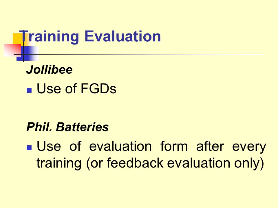 Training Evaluation Use of FGDs