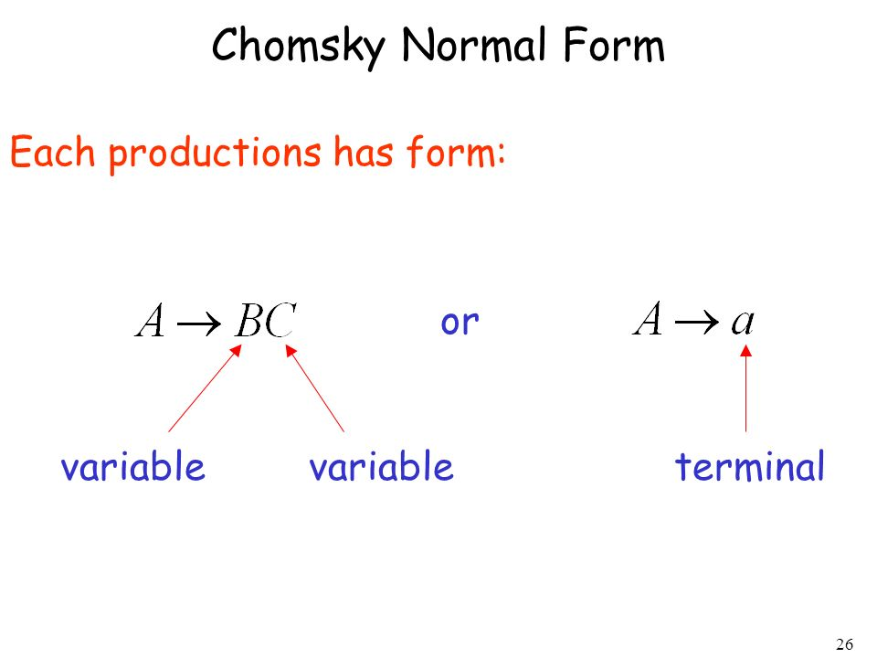 Chomsky Normal Form Each productions has form: or variable variable