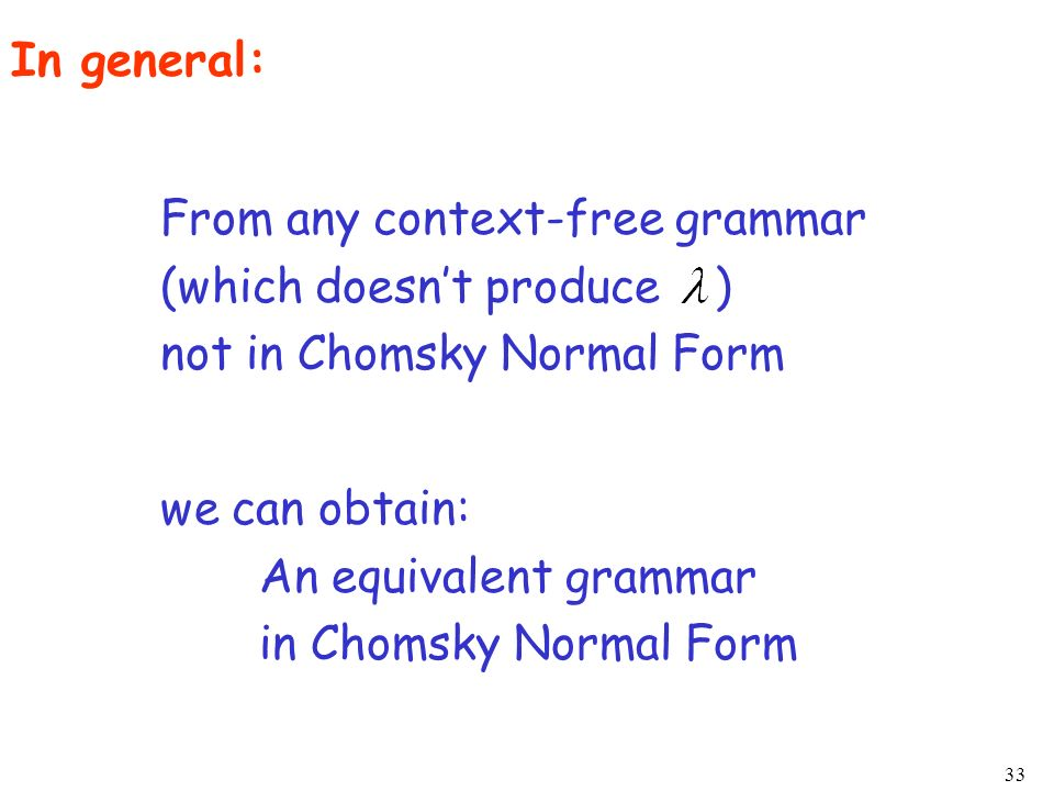 In general: From any context-free grammar. (which doesn't produce ) not in Chomsky Normal Form.