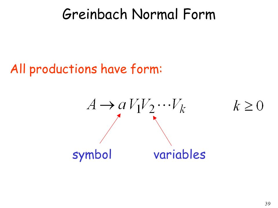 Greinbach Normal Form All productions have form: symbol variables