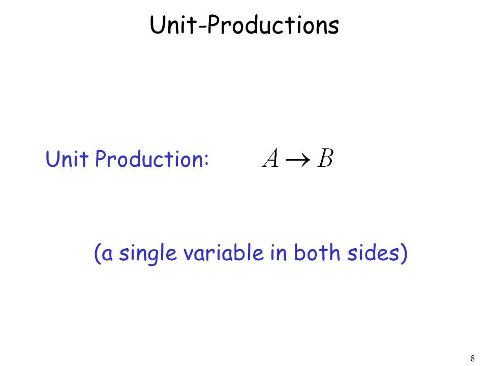Unit-Productions Unit Production: (a single variable in both sides)