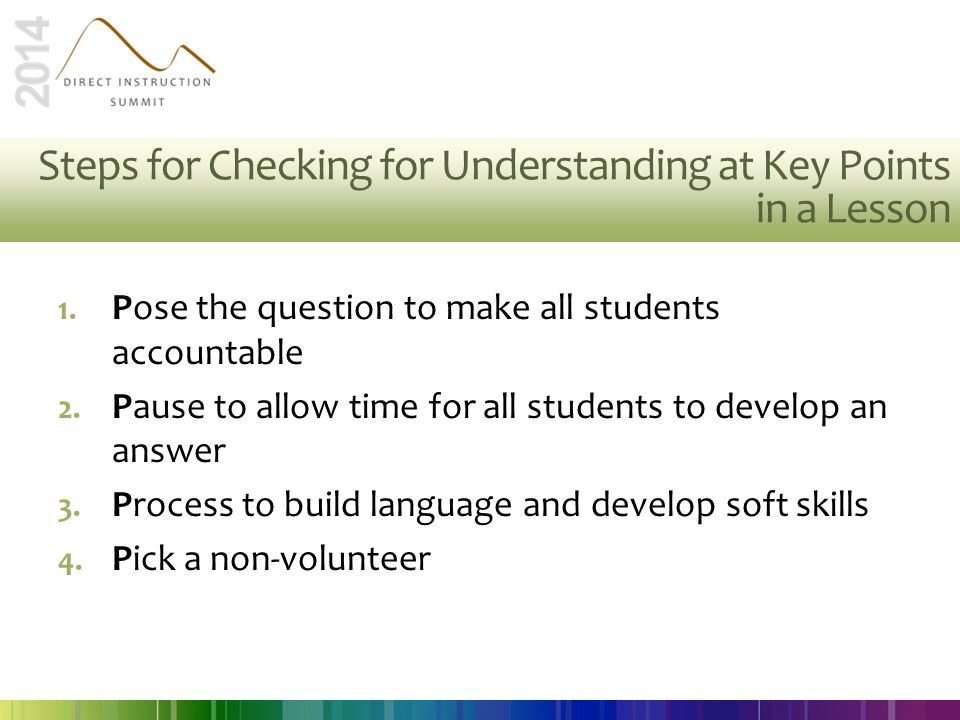 Steps for Checking for Understanding at Key Points in a Lesson