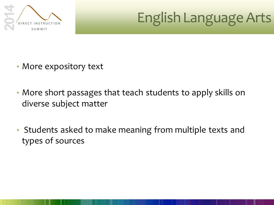 English Language Arts More expository text