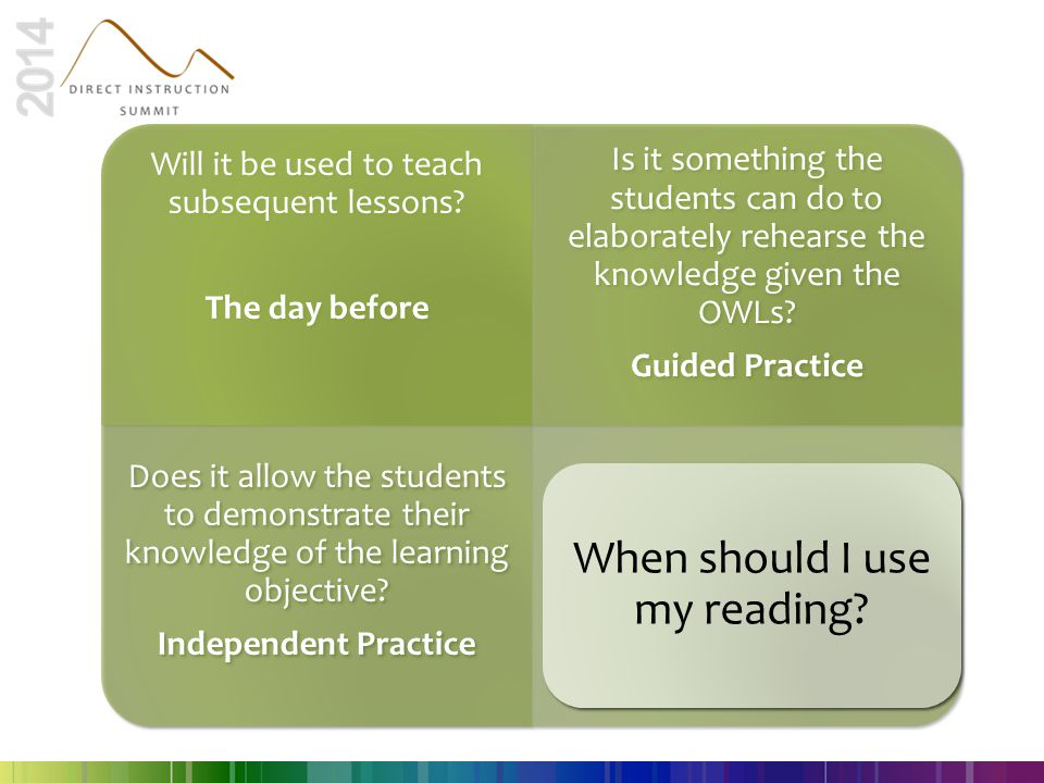 When should I use my reading