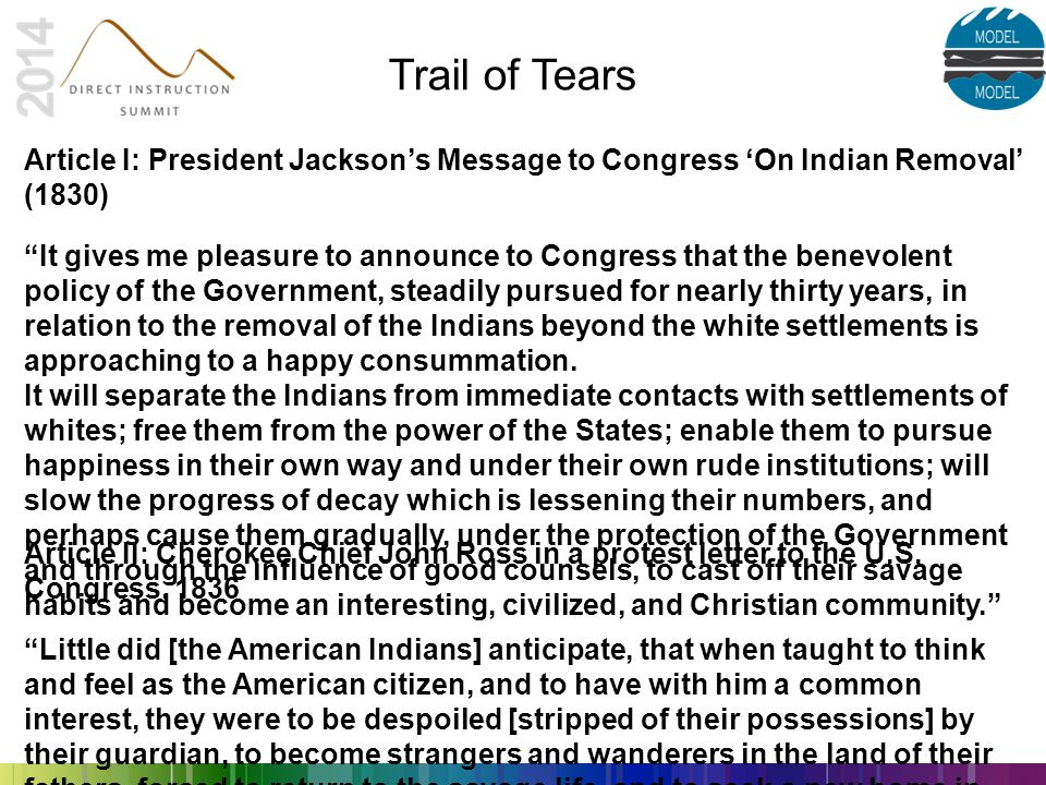 Trail of Tears Article I: President Jackson's Message to Congress 'On Indian Removal' (1830)