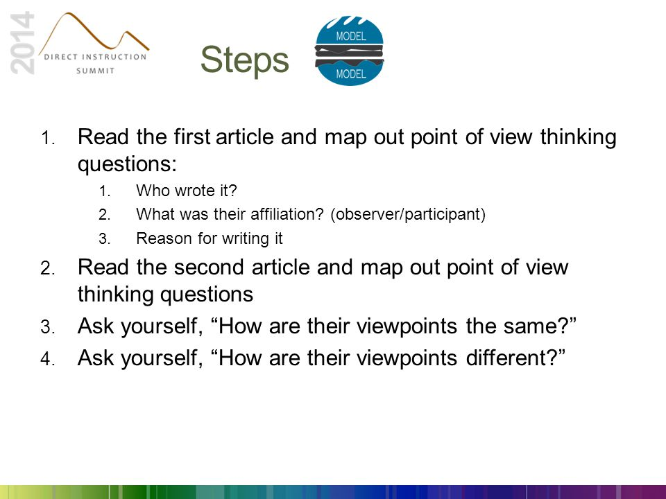 Steps Read the first article and map out point of view thinking questions: Who wrote it What was their affiliation (observer/participant)