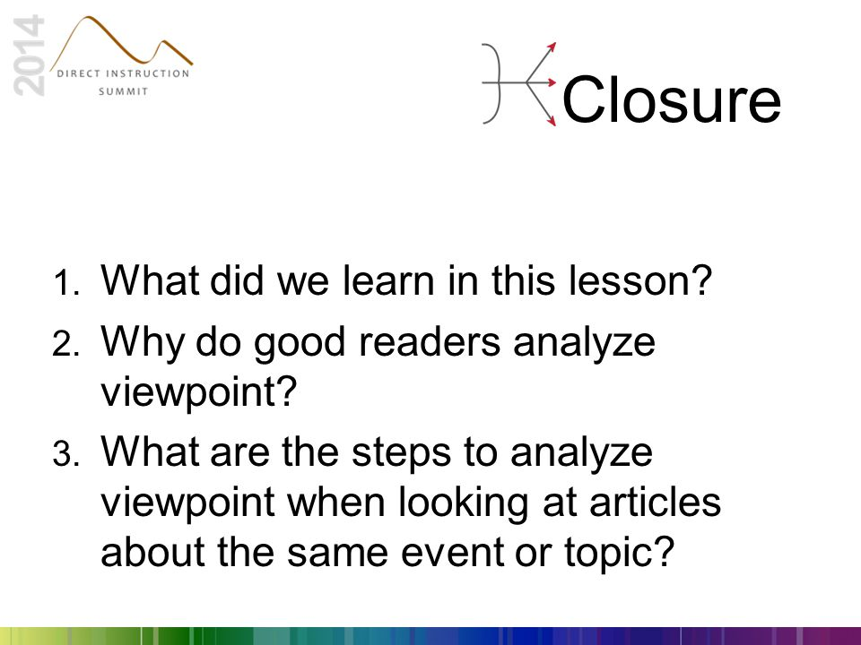 Closure What did we learn in this lesson