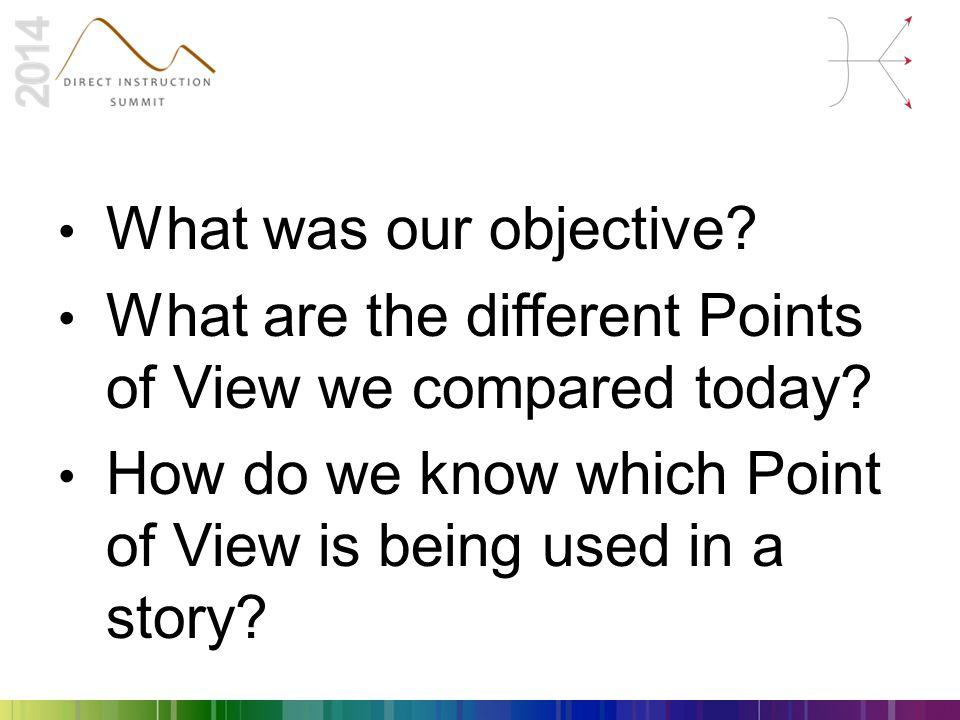 What was our objective. What are the different Points of View we compared today.