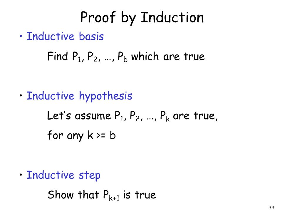 Proof by Induction Inductive basis Find P1, P2, …, Pb which are true