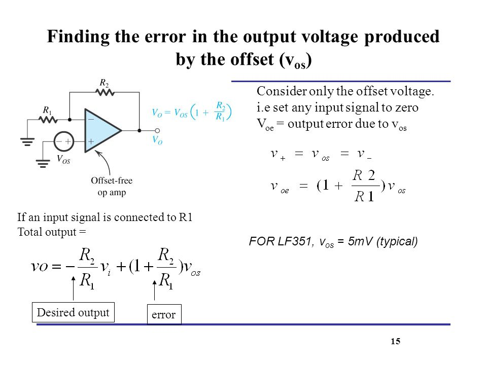 Finding the error in the output voltage produced by the offset (vos)