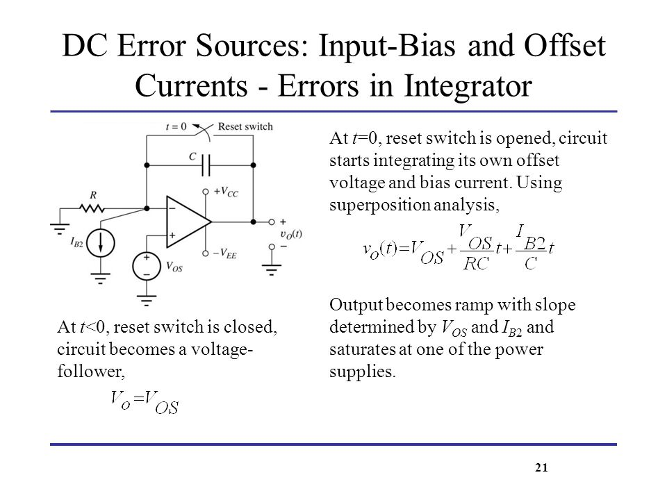DC Error Sources: Input-Bias and Offset Currents - Errors in Integrator