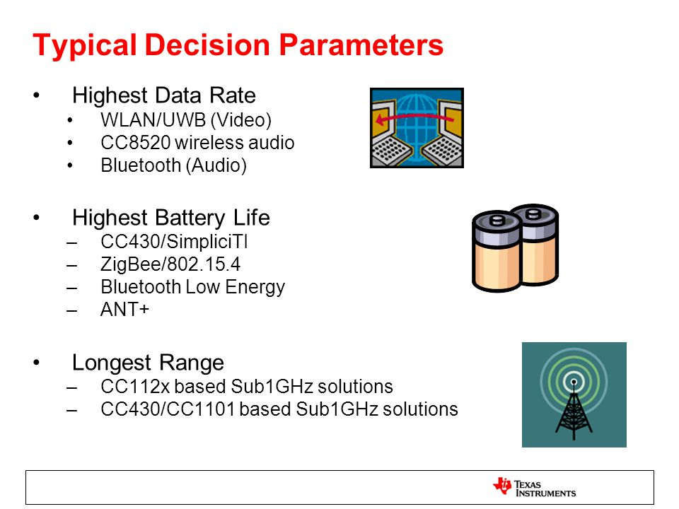 Typical Decision Parameters