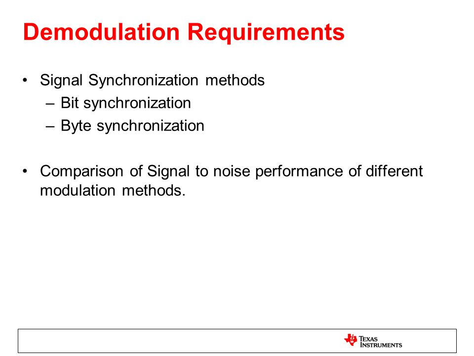 Demodulation Requirements