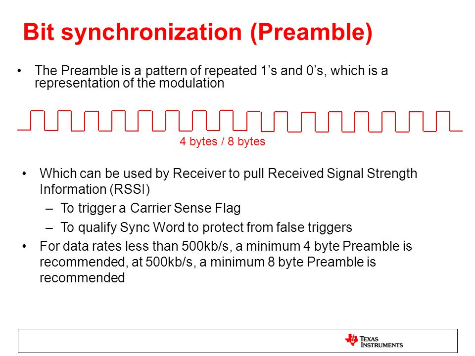 Bit synchronization (Preamble)