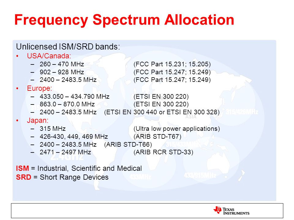 Frequency Spectrum Allocation