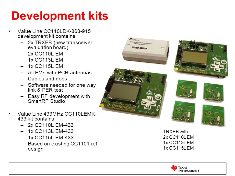 Development kits Value Line CC110LDK-868-915 development kit contains