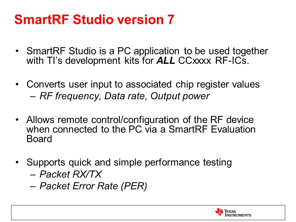 SmartRF Studio version 7