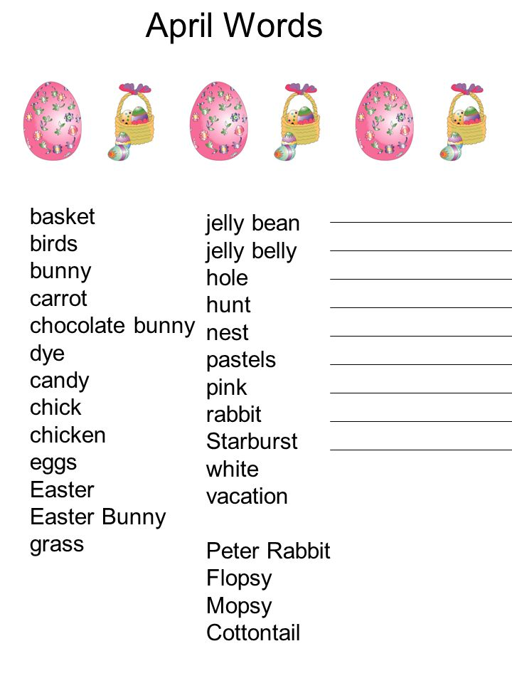 April Words basket birds jelly bean bunny jelly belly carrot hole