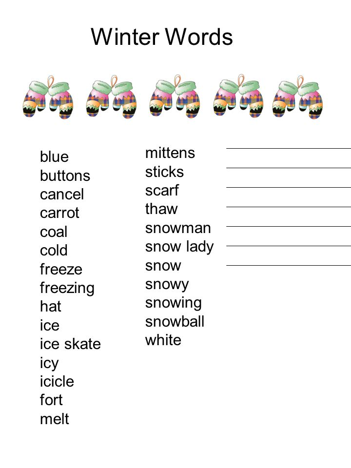 Winter Words mittens blue sticks buttons scarf cancel thaw carrot