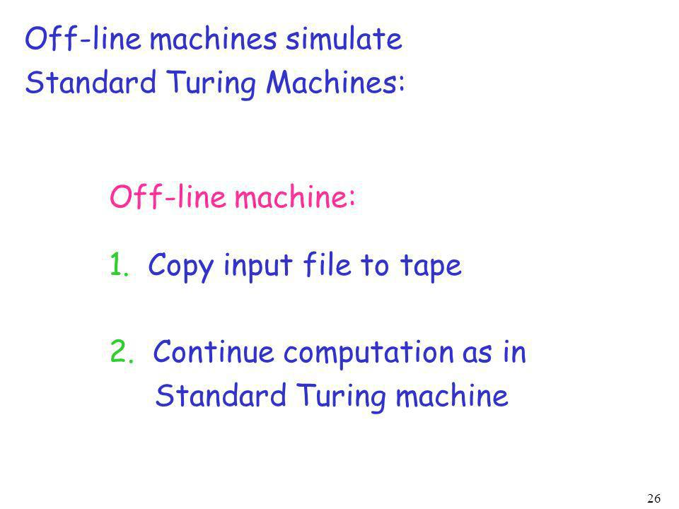 Off-line machines simulate