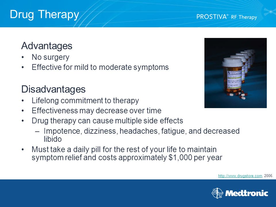 Drug Therapy Advantages Disadvantages No surgery