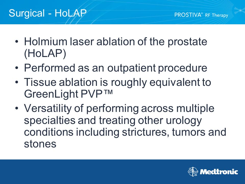 Holmium laser ablation of the prostate (HoLAP)