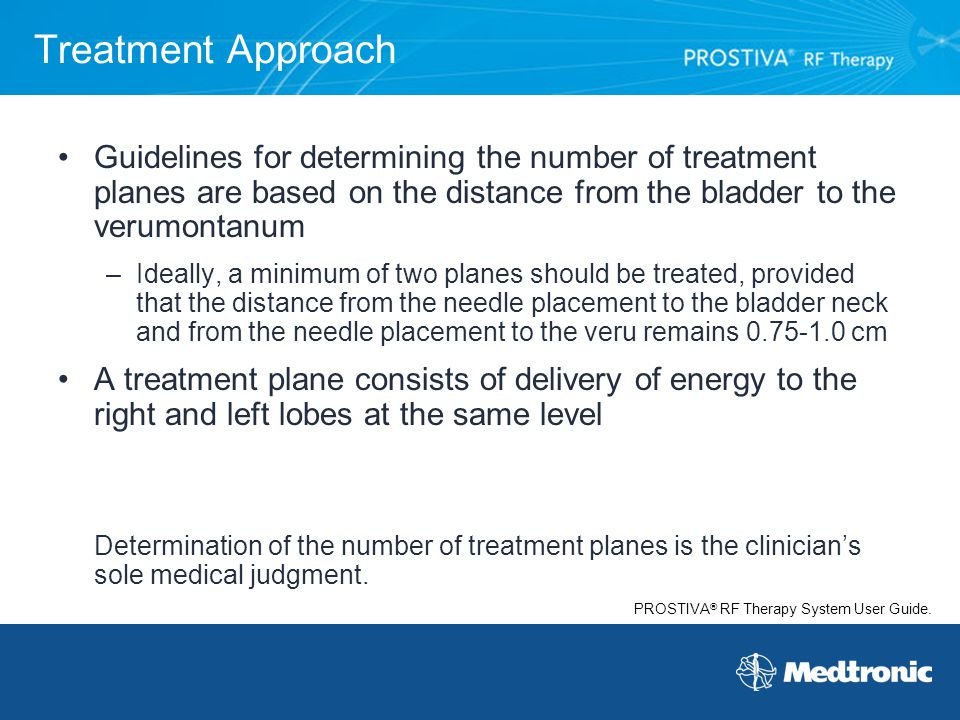 Treatment Approach Guidelines for determining the number of treatment planes are based on the distance from the bladder to the verumontanum.