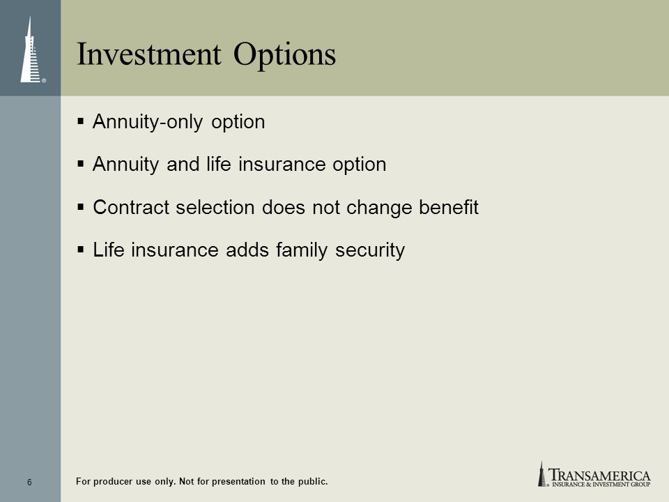 Investment Options Annuity-only option