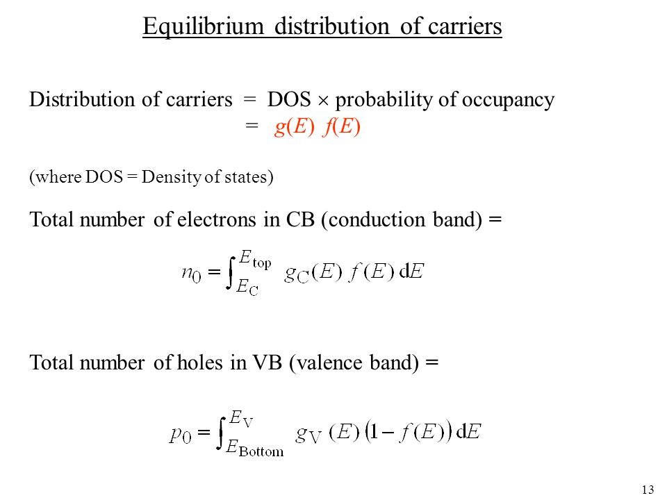Equilibrium distribution of carriers