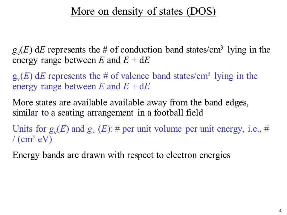More on density of states (DOS)