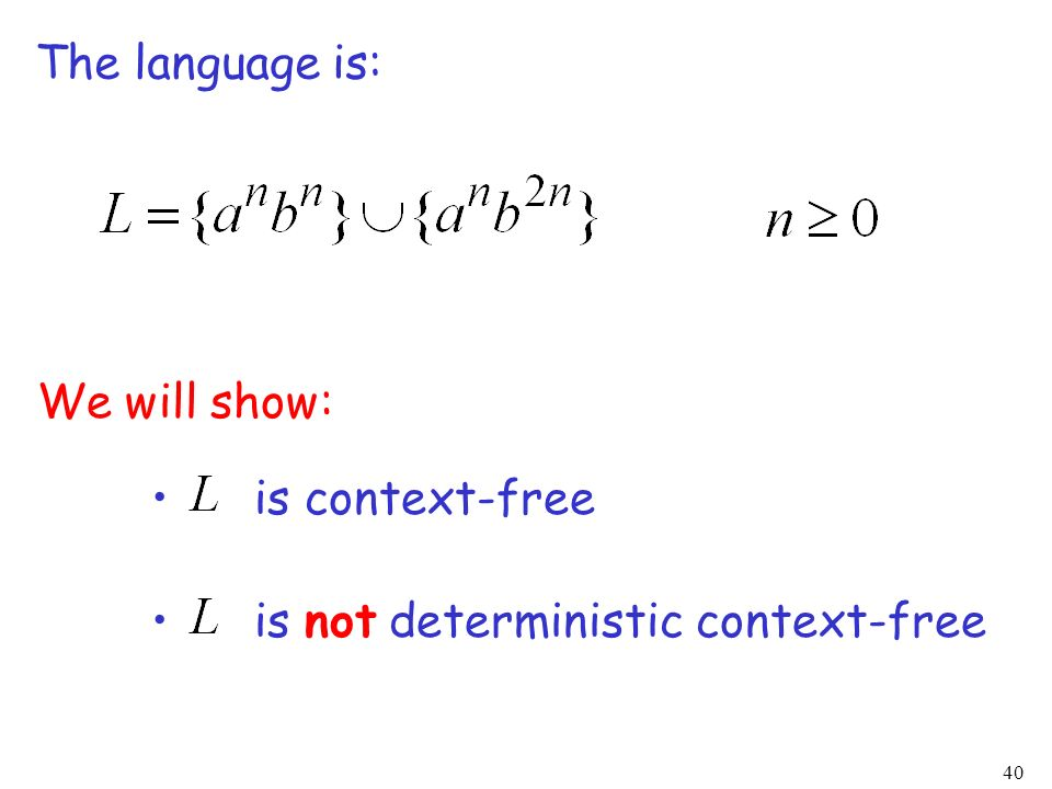 The language is: We will show: is context-free is not deterministic context-free