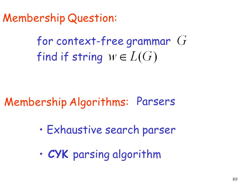 Membership Question: for context-free grammar. find if string. Membership Algorithms: Parsers. Exhaustive search parser.