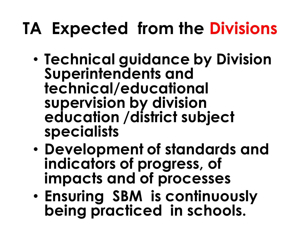 TA Expected from the Divisions