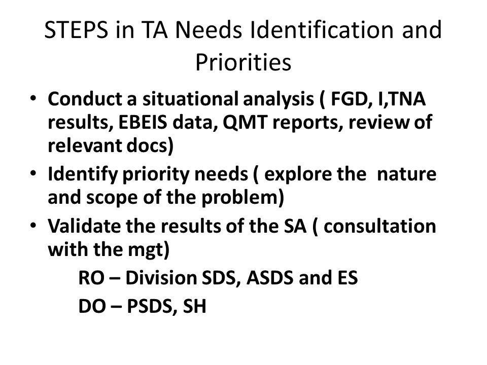 STEPS in TA Needs Identification and Priorities