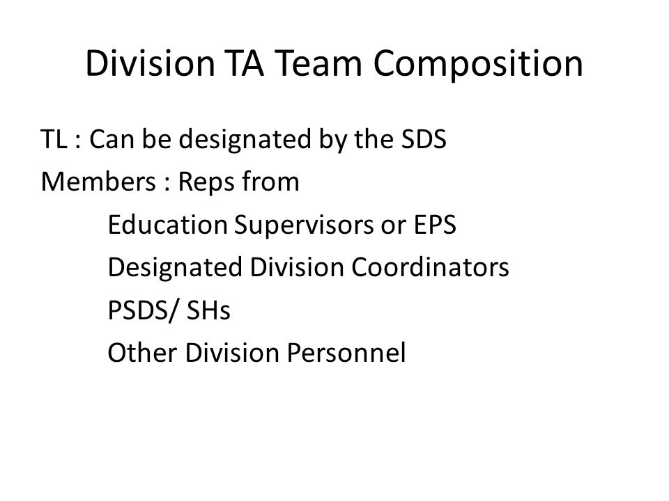 Division TA Team Composition