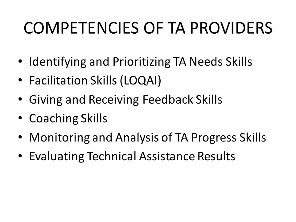 COMPETENCIES OF TA PROVIDERS