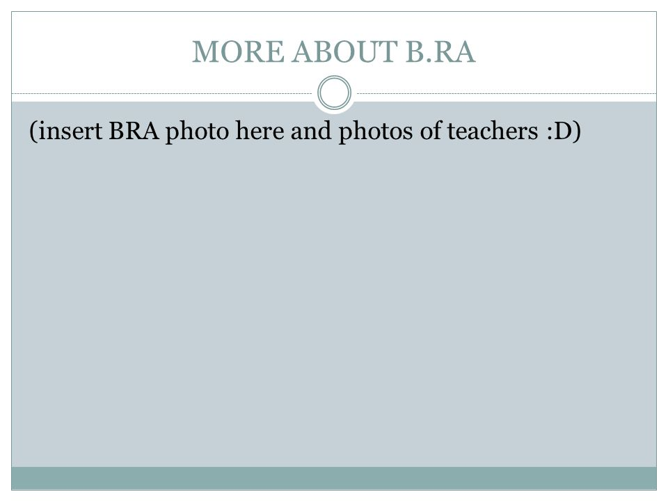 MORE ABOUT B.RA (insert BRA photo here and photos of teachers :D)