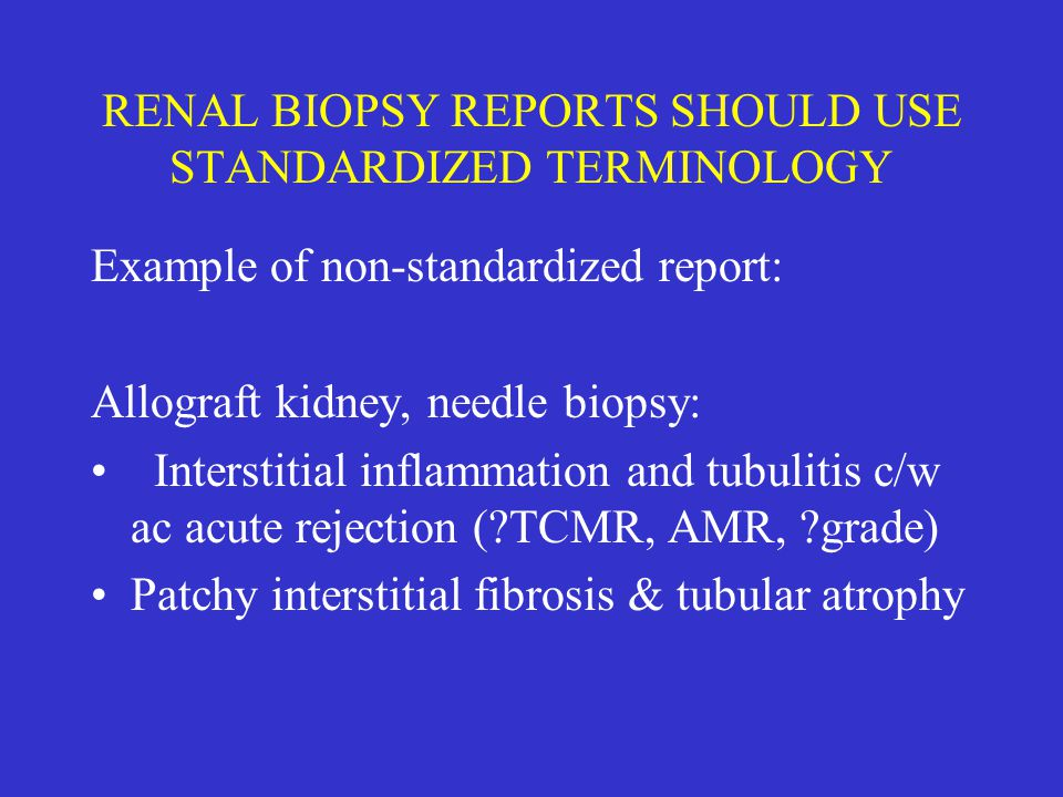 RENAL BIOPSY REPORTS SHOULD USE STANDARDIZED TERMINOLOGY