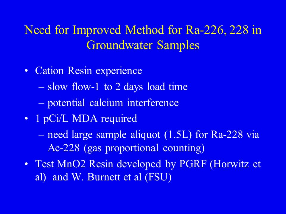 Need for Improved Method for Ra-226, 228 in Groundwater Samples