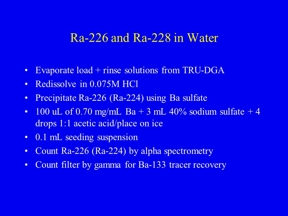 Ra-226 and Ra-228 in Water Evaporate load + rinse solutions from TRU-DGA. Redissolve in 0.075M HCl.
